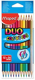 Цветные карандаши набор Maped COLOR PEPS Duo 12шт/24цв двусторонние (MP.829600)