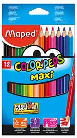 Олівці кольорові 12 кольорів Maped COLOR PEPS Jumbo MP.834010