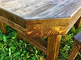 Мебель под старину в беседку из массива состаренного дерева от производителя, фото 3