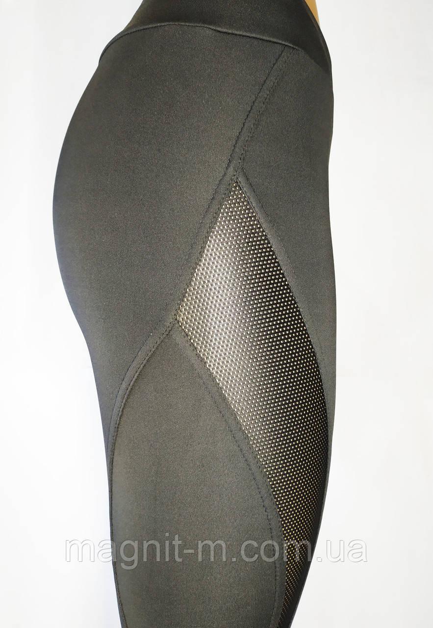 Модные, удобные лосины для фитнеса. Черные со вставками из сетки.