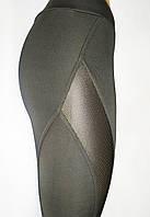Модные, удобные лосины для фитнеса. Черные со вставками из сетки., фото 1