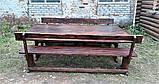 Мебель деревянная. Комплект стол 2500х1000 + 2 лавки. Покрытие итальянский масло-воск от производителя, фото 6