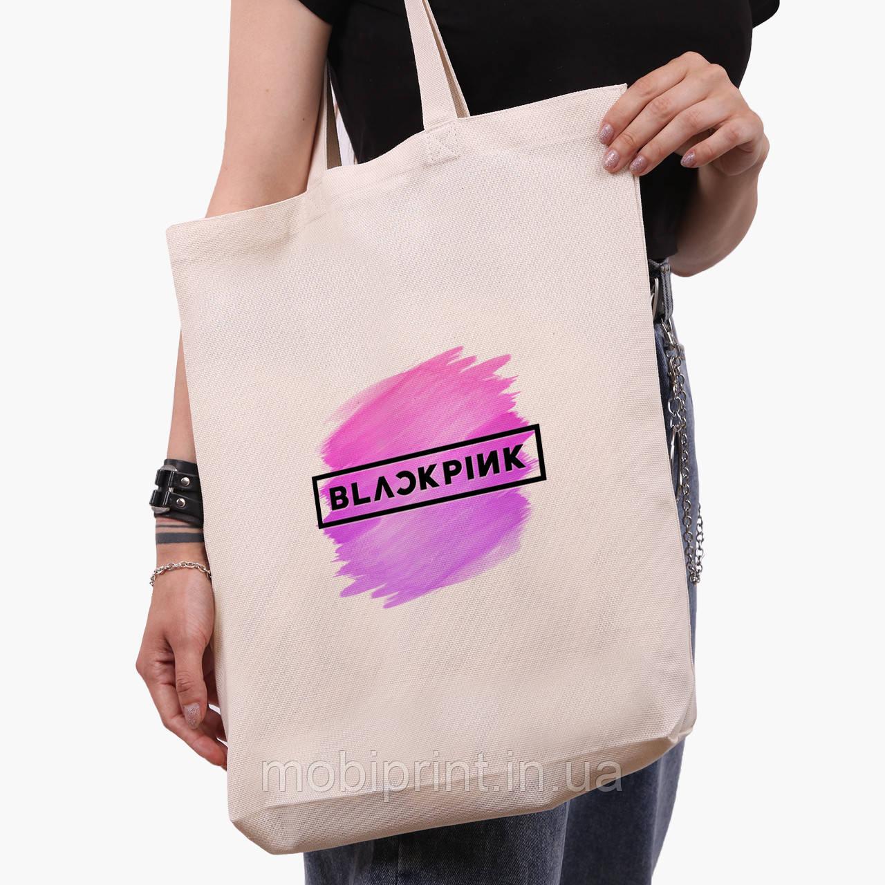 Еко сумка шоппер біла Блек Пінк (BlackPink) (9227-1350-1) экосумка шопер 41*39*8 см