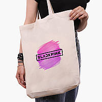 Еко сумка шоппер біла Блек Пінк (BlackPink) (9227-1350-1) экосумка шопер 41*39*8 см, фото 1