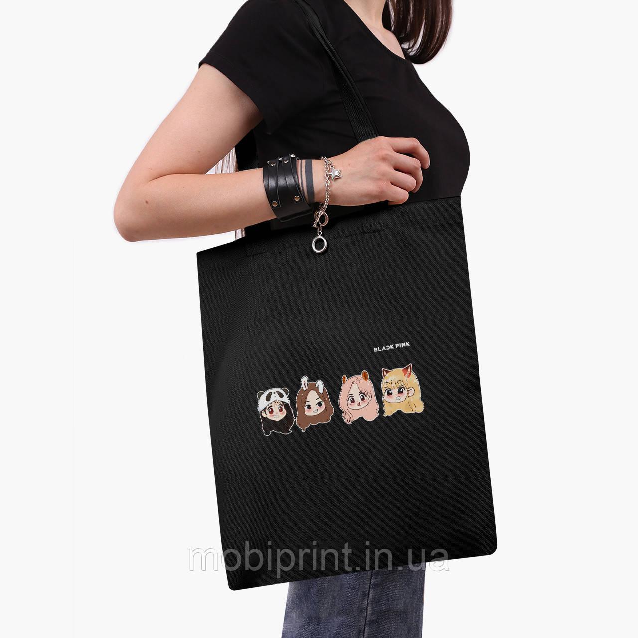Эко сумка шоппер черная Блек Пинк (BlackPink) (9227-1340-2) экосумка шопер 41*35 см