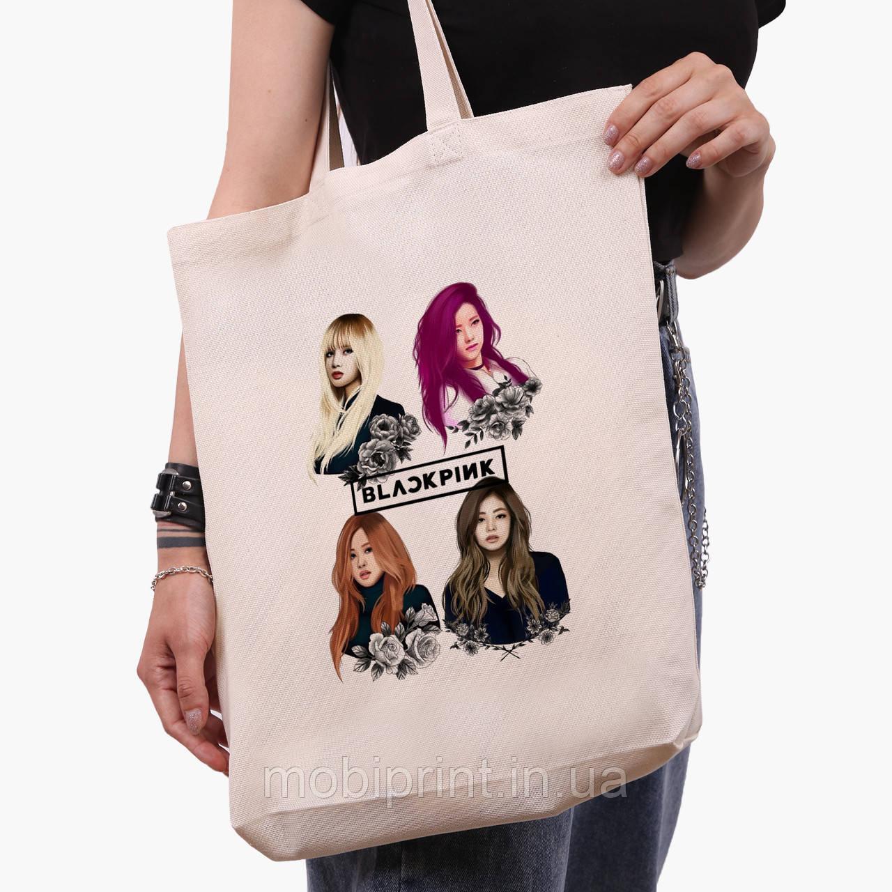 Эко сумка шоппер черная Блек Пинк (BlackPink) (9227-1341-2)  экосумка шопер 41*35 см