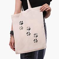Эко сумка шоппер Лапки (Paws) (9227-1755)  экосумка шопер 41*35 см, фото 1