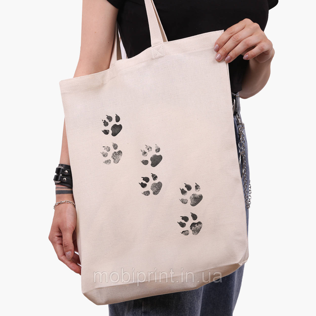 Эко сумка шоппер белая Лапки (Paws) (9227-1755-1)  экосумка шопер 41*39*8 см