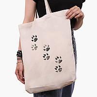 Эко сумка шоппер белая Лапки (Paws) (9227-1755-1)  экосумка шопер 41*39*8 см, фото 1