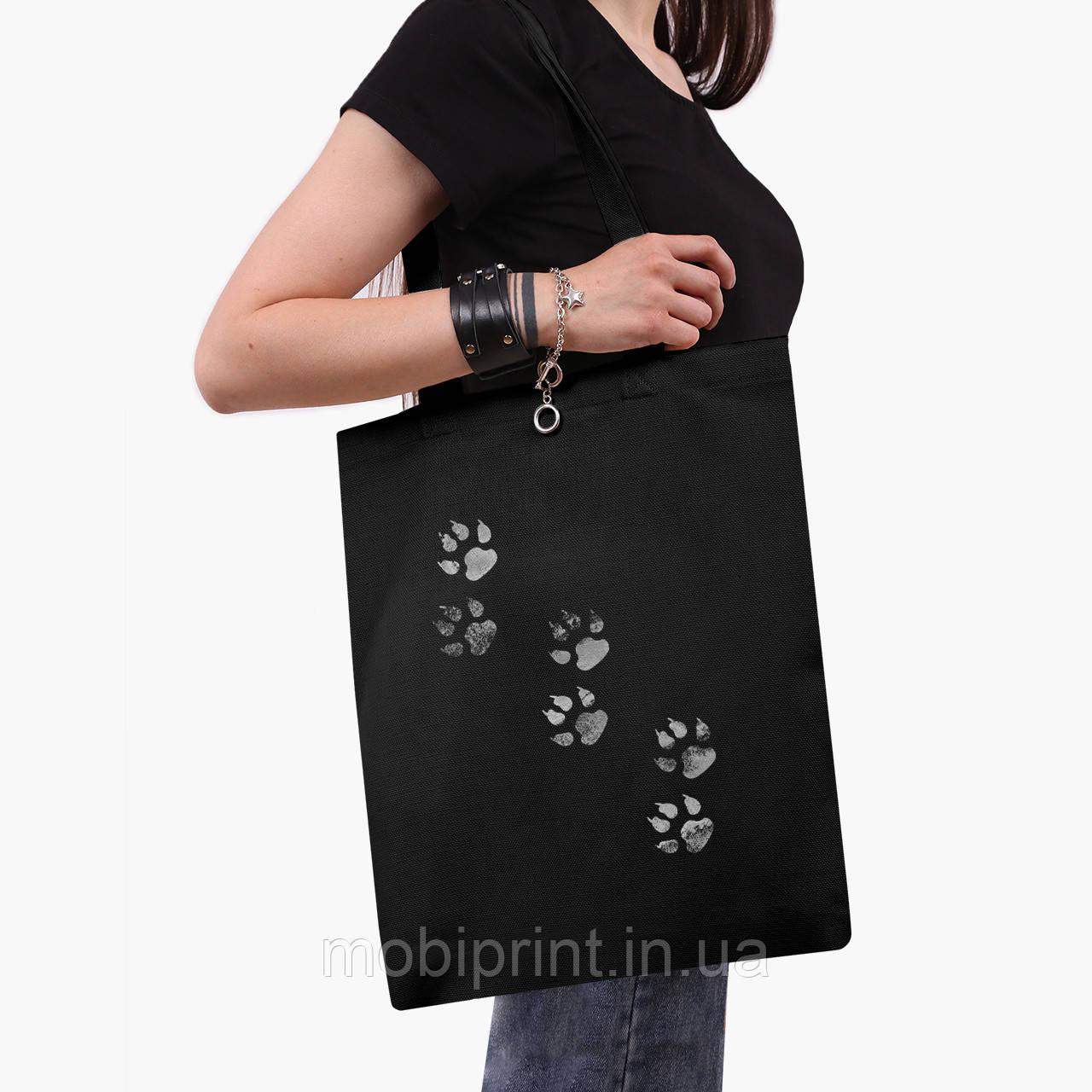 Эко сумка шоппер черная Лапки (Paws) (9227-1755-2)  экосумка шопер 41*35 см