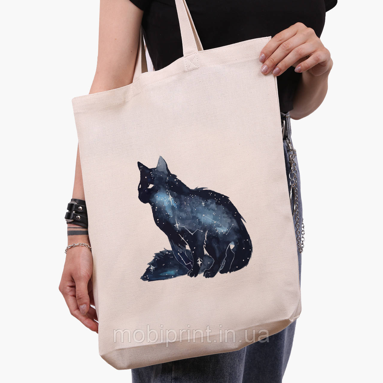 Эко сумка шоппер белая Созвездие Кошка (Cat) (9227-1758-1)  экосумка шопер 41*39*8 см