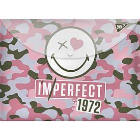 Папка-конверт YES на кнопке А4 ''Smiley World'' девочка