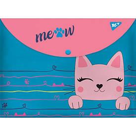Папка-конверт YES на кнопке А4 ''Cats''