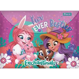 Папка-конверт 1Вересня на кнопке А4 ''Enchantimals''