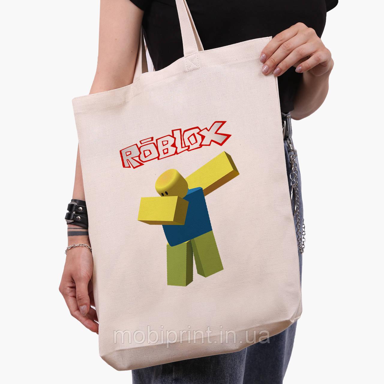 Еко сумка шоппер біла Роблокс (Roblox) (9227-1707-1) экосумка шопер 41*39*8 см