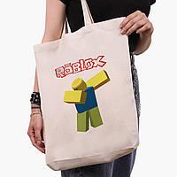 Еко сумка шоппер біла Роблокс (Roblox) (9227-1707-1) экосумка шопер 41*39*8 см, фото 1