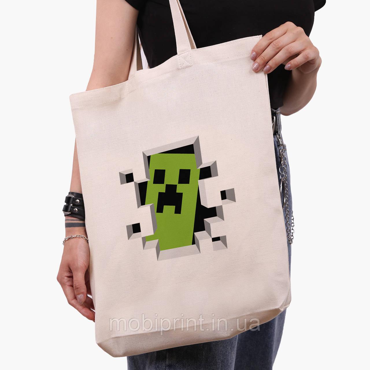 Еко сумка шоппер біла Майнкрафт (Minecraft) (9227-1709-1) экосумка шопер 41*39*8 см