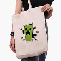 Еко сумка шоппер біла Майнкрафт (Minecraft) (9227-1709-1) экосумка шопер 41*39*8 см, фото 1