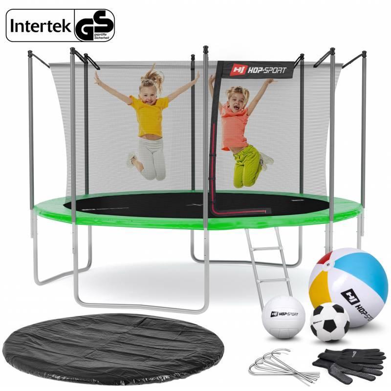 Батут с внутренней сеткой 12ft (366cm) Hop-Sport grenn для дома и спортзала с нагрузкой до 150 кг