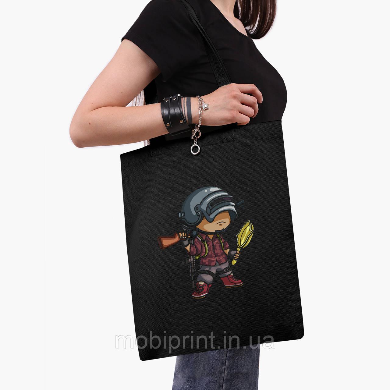 Эко сумка шоппер черная Пубг Пабг (Pubg) (9227-1710-2)  экосумка шопер 41*35 см