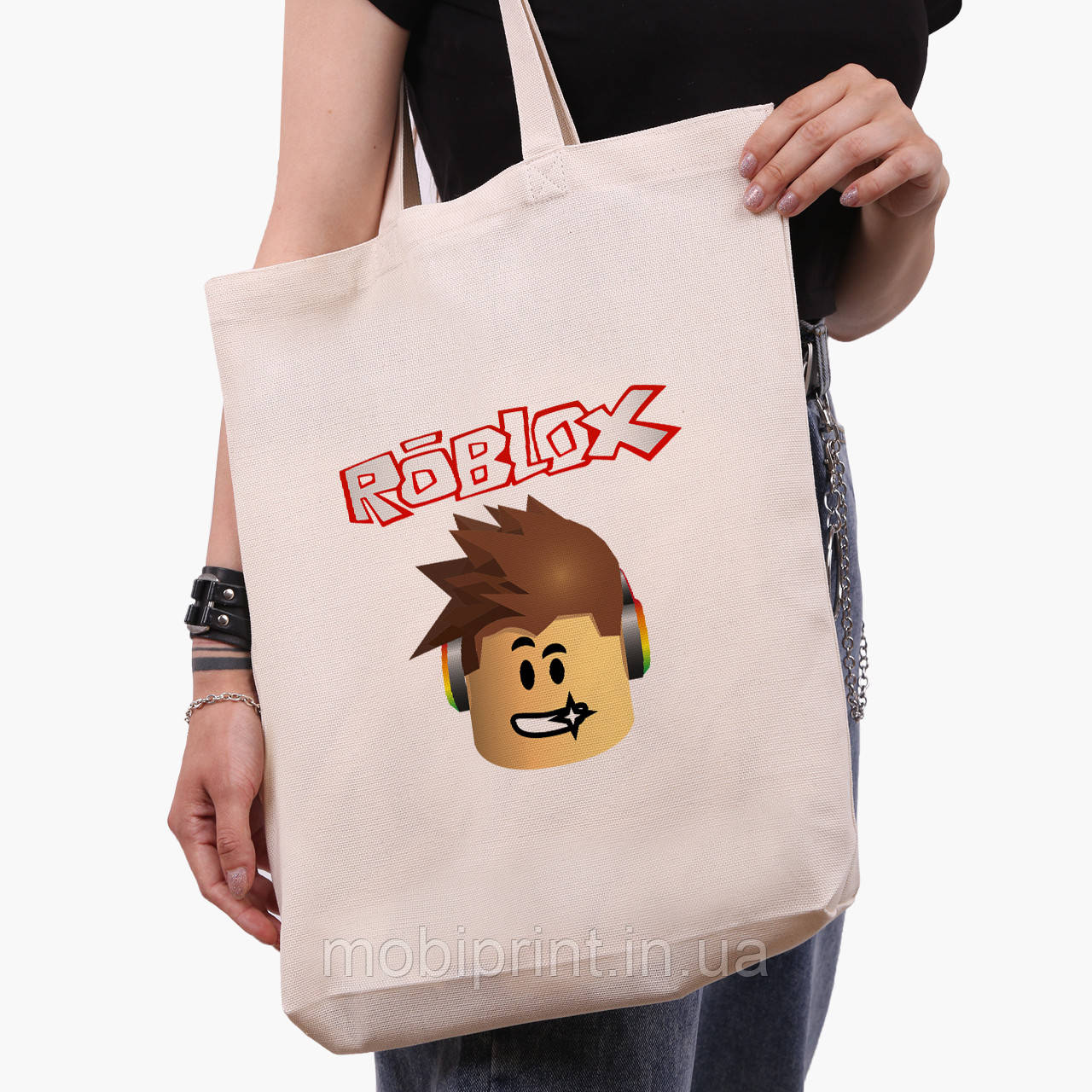 Эко сумка шоппер белая Роблокс (Roblox) (9227-1713-1)  экосумка шопер 41*39*8 см