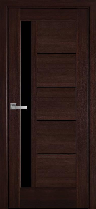 "Двері засклені міжкімнатні новий стиль Ностра ""Грета G,BLK"" 60,70,80,90 см каштан"