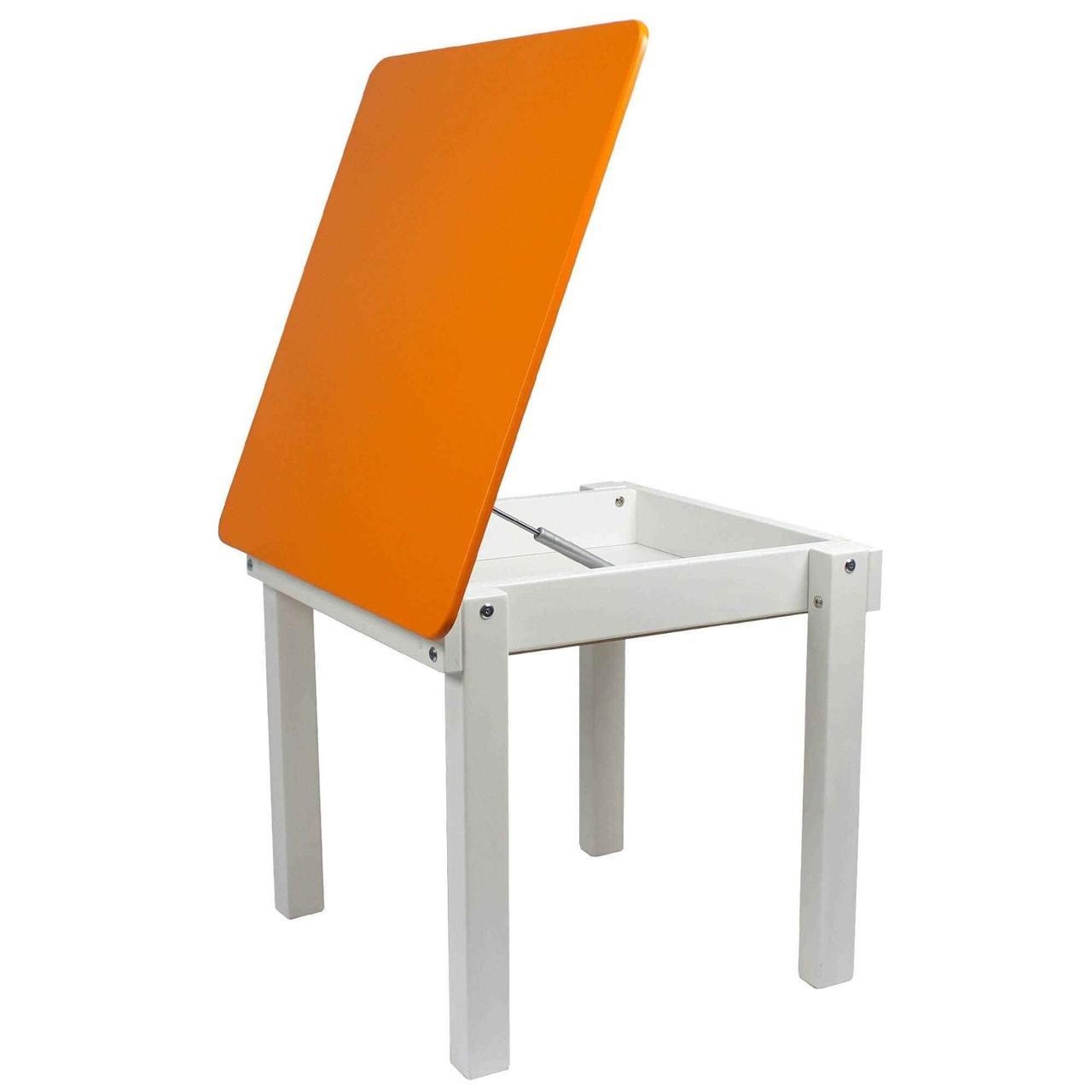 """Детский стол """"Woody"""" c пеналом белый с оранжевой столешницей"""
