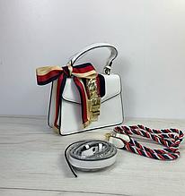 Сумка Гуччи Сильвия с ручкой + 3 ремешка / натуральная кожа (309) Белый