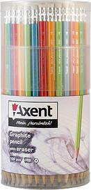 Карандаш графитовый Axent НB с ластиком микс 4 диз (9001/100-A)