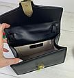 Сумка в Гуччи Сильвия с ручкой + 3 ремешка в комплекте / натуральная кожа (309) Черный, фото 4