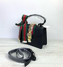 Сумка в Гуччи Сильвия с ручкой + 3 ремешка в комплекте / натуральная кожа (309) Черный