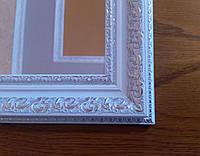 Зеркало в белой багетной раме  60 х  120см