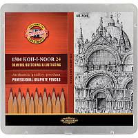 Графитные карандаши для рисования 8В-10Н набор 24 шт (1504)