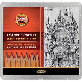 Олівці графітні 8В-10Н набір 24 шт (1504)