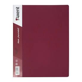 Папка-скоросшиватель Axent А4 бордовый с пружиной, бок. карм. (1304-04-A)