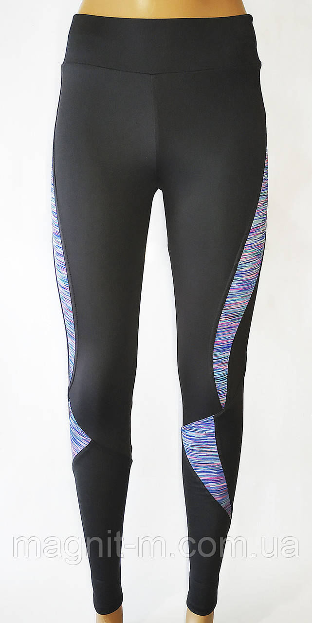 Стильные, модные лосины для фитнеса. Черные с контрастными вставками.