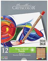 Цветные карандаши набор Cretacolor MEGACOLOR 12шт в метал.пенале (9014400290870)
