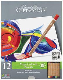 Набір кольорових олівців, MEGACOLOR, 12шт., мет. коробка, Cretacolor