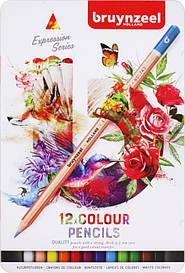 Олівці кольорові Bruynzeel EXPRESSION Sakura 12шт в метал.пеналі (8712079424923)