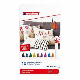Маркер Edding Textile Classic 1 мм набір 10 кольорів (4600/10C)