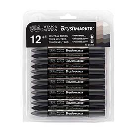 Набор двухсторонних маркеров, Brushmarker, Cерый, 12 шт, W&N