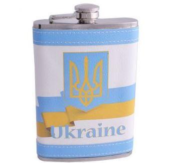 Фляга з неіржавіючої сталі обтягнута шкірою Україна F-179-10