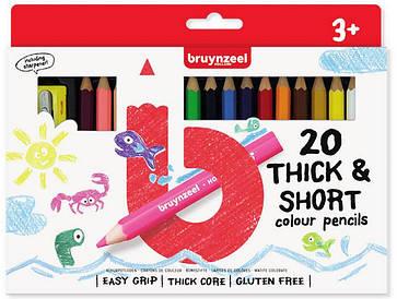 Набор детских цветных карандашей, 20цв., толстые, короткие, + точилка для карандашей, Bruynzeel