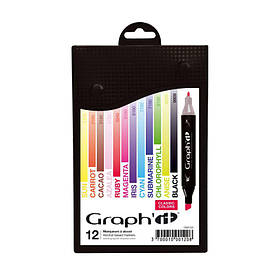 Набор двусторонних маркеров Classic, Классические цвета, 12шт, Graph'it