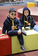 Костюм детский плюшевый утепленный двойка осенний мальчику/девочке, синий подростковый прогулочный осень весна