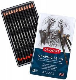 Набір графіт.олівець Graphic Designer Medium в мет.короб. 12шт.(асорті від 6В до 4Н), Derwent