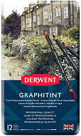 Набор акварельных графитных карандашей Graphitint, 12 шт, в метал. короб, Derwent