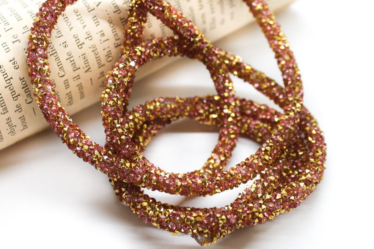 Стразовый шнур. Цена за 1 метр. Цвет Розовый и золото. Диаметр 6мм.