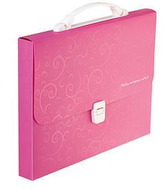 Портфель 35мм Buromax A4 210×297x35мм 1 отд. пластиковый замок Barocco розовый BM.3719-10