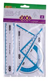 Комплект:линейка 15см+2угольника+транспортир ZiBi KIDS Line (ZB.5687-14)